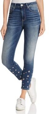 Tess Grommet Cropped Skinny Jeans in Shaded Eyelet