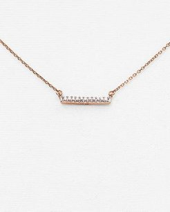 14K Rose Gold Pave Diamond Bar Necklace, 15