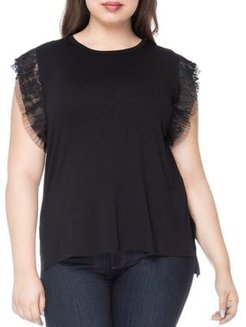 Alden Pleated Lace-Trimmed Top