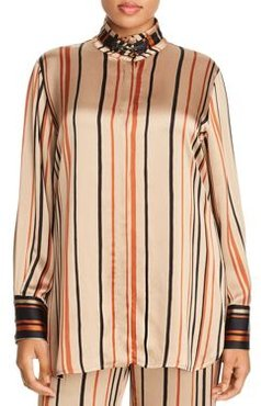 Figurare Striped Funnel Neck Blouse
