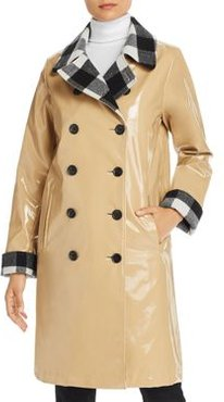 Double-Breasted Front Slicker Raincoat