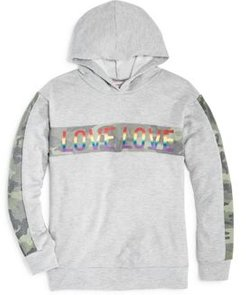 Girls' Camo Stripe Love Hoodie - Big Kid