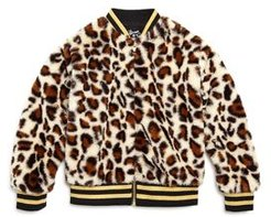 Girls' Faux Fur Leopard Bomber Jacket - Little Kid