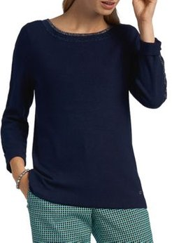 Sparkle-Trimmed Pullover Sweater