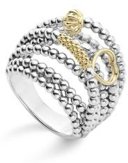 18K Gold and Sterling Silver Domed Caviar Icon Multi Row Ring