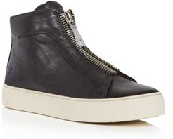 Lena Zip Up Leather High Top Sneakers