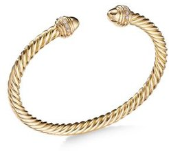 Cable Bracelet in 18K Gold with Gold Dome & Diamonds