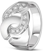 18K White Gold Menottes Ring with Diamonds