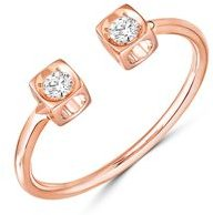 18K Rose Gold Le Cube Diamant Open Ring with Diamonds