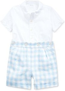 Boys' Broadcloth Button-Down Shirt & Gingham Shorts Set - Baby