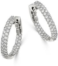 Diamond Double Row Inside Out Hoop Earrings in 14K White Gold - 100% Exclusive