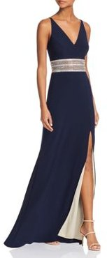 Embellished-Waist Gown