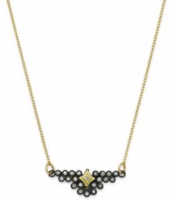 Blackened Sterling Silver & 18K Yellow Gold Old World Champagne Diamond Bezel Pendant Necklace, 15.5