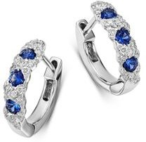 Diamond & Blue Sapphire Huggie Hoop Earrings in 14K White Gold - 100% Exclusive