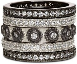 Studded Stackable Rings in Rhodium-Plated & Platinum-Plated Sterling Silver, Set of 5