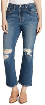 Desctruted Cropped Flared Jeans in Jaxton