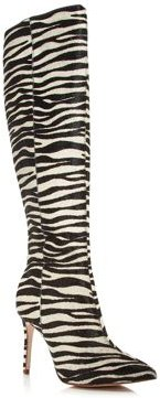 Indiala Zebra-Print Calf Hair Pointed-Toe High-Heel Boots