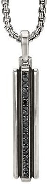 Sterling Silver Deco Ingot Pendant with Pave Black Diamonds