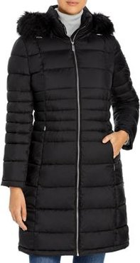 Hooded Faux Fur Trim Puffer Coat
