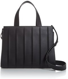 Pleated Leather Top Handle Shoulder Bag