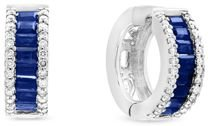 Blue Sapphire and Diamond Hoop Earrings in 14K White Gold - 100% Exclusive