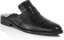 Keen Almond Toe Croc-Embossed Leather Mules