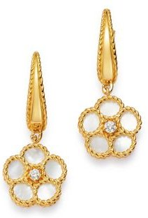 18K Yellow Gold Daisy Mother-of-Pearl & Diamond Drop Earrings - 100% Exclusive