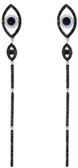 Blue Sapphire and Black & White Diamond Evil-Eye Linear Drop Earrings in 14K White Gold - 100% Exclusive