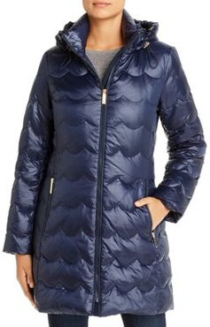 Scallop-Quilted Puffer Coat