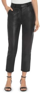 Bagatelle. city Pleated Leather Ankle Pants