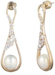 Pave Crystal & Cultured Freshwater Pearl Drop Earrings