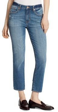 High-Rise Slim Straight Ankle Jeans in McKinney