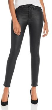 High Rise Super Skinny Leather Pants in Black