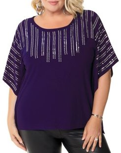 Sequined Poncho-Style Top