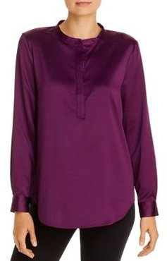 Satin Henley Blouse - 100% Exclusive