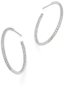 18K White Gold Large Micro Pave Diamond Hoop Earrings, 0.98 ct. t.w.