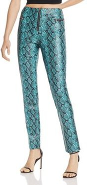Pearl Snakeskin-Print Faux Leather Pants
