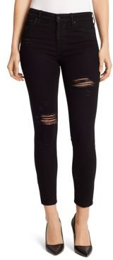 Destructed High Rise Skinny Ankle Jeans in Noir