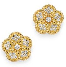 18K Yellow Gold Daisy Diamond Stud Earrings - 100% Exclusive