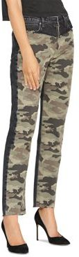 Barbara High Rise Straight Jeans in Blackened Camo