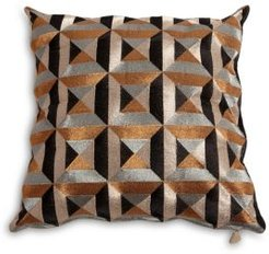 Triangle-Marquetry Down Pillow, 20 x 20