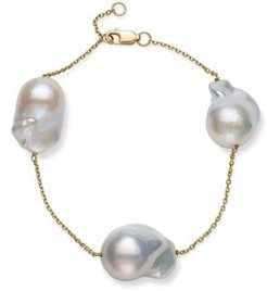 Baroque Cultured Freshwater Pearl Station Bracelet in 14K Yellow Gold - 100% Exclusive