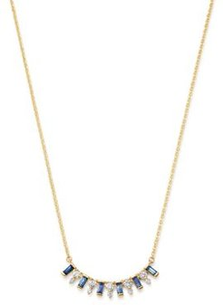 14K Yellow Gold & Diamond & Sapphire Necklace, 16 - 100% Exclusive