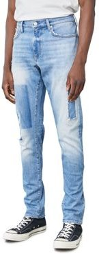 004 Straight Slim Fit Jeans in Light Indigo Patch