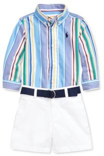 Boys' Poplin Shirt, Belt & Shorts Set - Baby