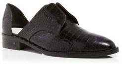 Wear Laceless Croc-Embossed d'Orsay Leather Oxfords
