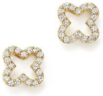 Diamond Clover Stud Earrings in 14K Yellow Gold, .20 ct. t.w. - 100% Exclusive