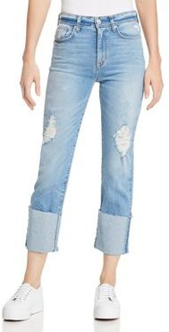 Zoeey High Rise Deep Cuff Straight Jeans in Better Half