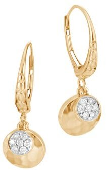 18K Gold Dot Hammered Pave Diamond Drop Earrings