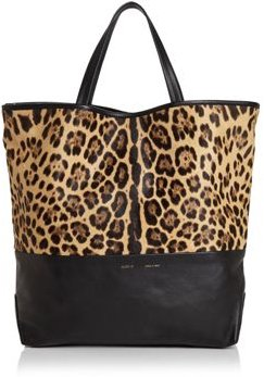 Large Leopard Print Fur & Leather Tote - 100% Exclusive